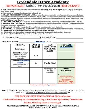 Recital Ticket Order Form